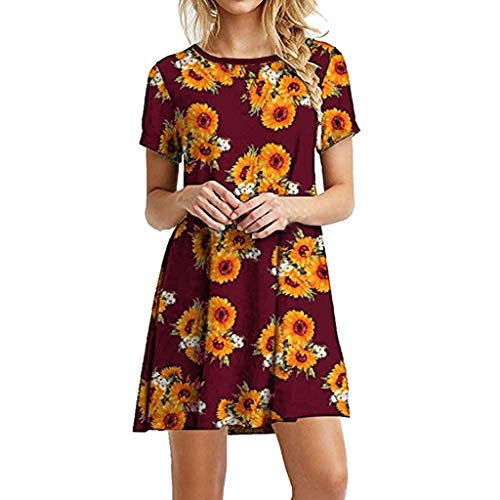 iTLOTL Women Sunflower Dress Sexy O-Neck Sunflower Print Style Holiday Dress(X-Large,WineRed)