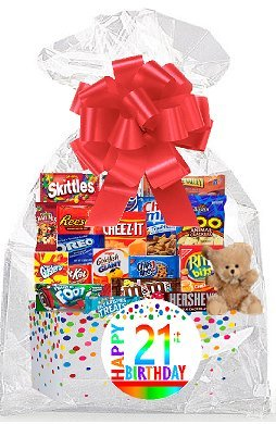 - CakeSupplyShop Item#021BSG Happy 21st Birthday Rainbow Thinking Of You Cookies, Candy & More Care Package Snack Gift Box Bundle Set - Ships FAST!