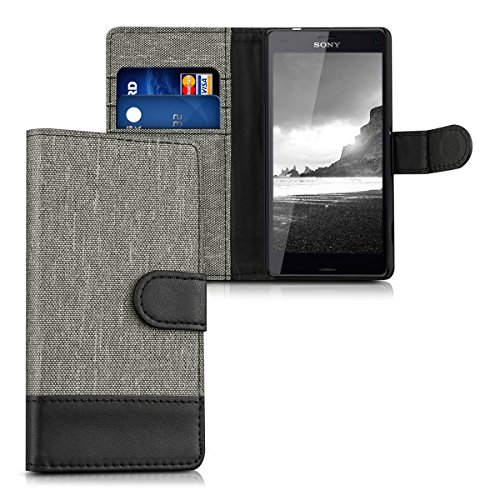 kwmobile Wallet case canvas cover for Sony Xperia Z3 Compact - Flip case with card slot and stand in grey black