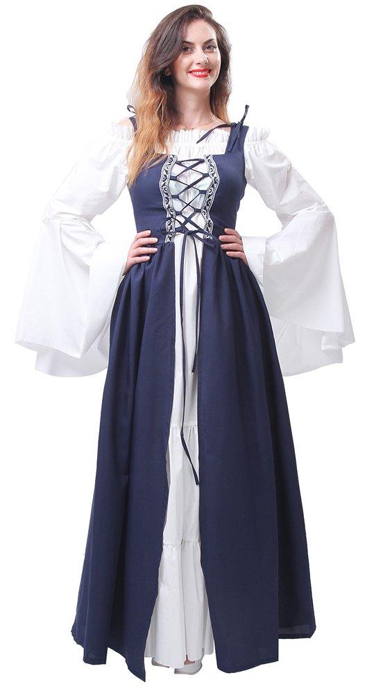 Lemail Womens Renaissance Medieval Irish Costume Irish Over Dress Boho Chemise Navy Blue L