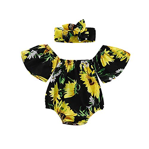 Newborn Kids Baby Girls Clothes Floral Outfits Set Lace Romper Suit Baby Headband (Black 2, 0-6 Months(70))]()