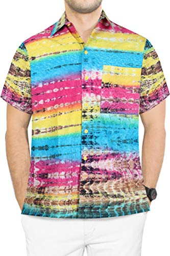 (LA LEELA Cotton Point Collar Beach Shirt Yellow 578 Small | Chest 38