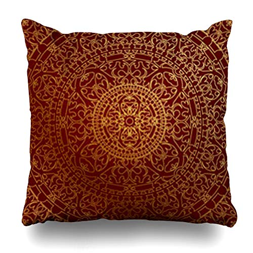 DaniulloRU Throw Pillow Covers Maroon Golden Oriental Red Gold Indian Pattern Floral Carpet Chinese Persian East Ethnicbackgrounds Home Decor Sofa Cushion Cases Square Size 20 x 20 Inches