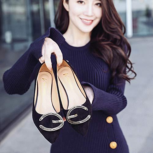 Hebilla de de Zapatos con Zapatos Mujer Boca Profunda Poco nuevos Tacones Punta Aguja Jqdyl Bwa4xSw