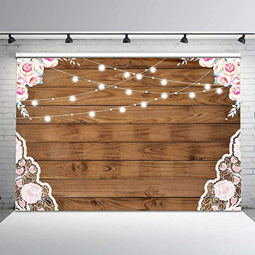 (Fanghui 7x5ft Flowers Wood Lace Rustic Photography Backdrop Durable No Wrinkle Wedding Newborn Birthday Party Background Supplies Wooden Board Bridal Shower Banner Decoration Photobooth Props )