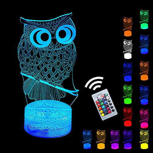 Lucky Owl Night Light 3D Optical Illusion Nursery LED Nightstand Lights Remote Control & 16 Colors Wall Lamps Kids Room Bedroom Decor Gift Ideas for Babes Boys Girls Teen Bday Xmas Party(Owl(Remote))]()