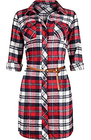 2LUV Women's 3/4 Sleeve Belted Plaid Flannel Shirt Dress White Red XL - Button Down Plaid Dress Shirt