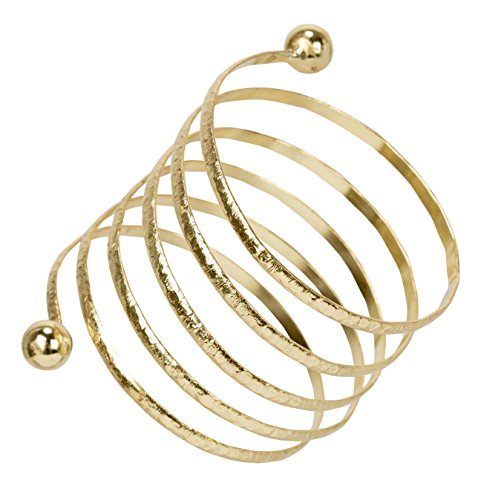 SPUNKYsoul New! Chic Gold or Silver Boho Coil Twist Spring Spiral Bracelet for Women Collection ()