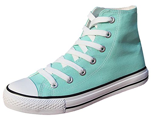 Ace Teens Women's Casual Flat High-top Laced-up Canvas Shoes Fashion Sneakers various colors (6.5, light green)