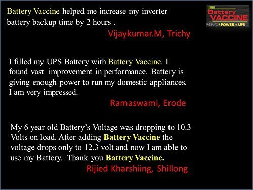 BATTERY BOOSTER Battery Vaccine - UPS/Inverter Additive/Life  Enhancer/Reviver/Conditioner/Recovery/Rejuvanator