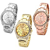 Top Plaza Women's Elegant Silver Gold Rose Gold Tone Alloy Band Crystal Rhinestones Analog Quartz Watch 3 pcs/Set