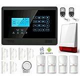 LKM Security WG-YL007M2E+5S+3PIR+SIR08 Kit Antifurto Allarme Casa Wireless, Controllabile da Cellulare con App Gratuita, Nero