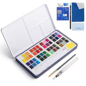48 Assorted Watercolor Paints Set – Perfect Watercolor Pan Set with Water Brushes Mixing Palette and Half-Hand Glove for Beginners and Artists Journal Sketching Painting Coloring Drawing Art Supplies