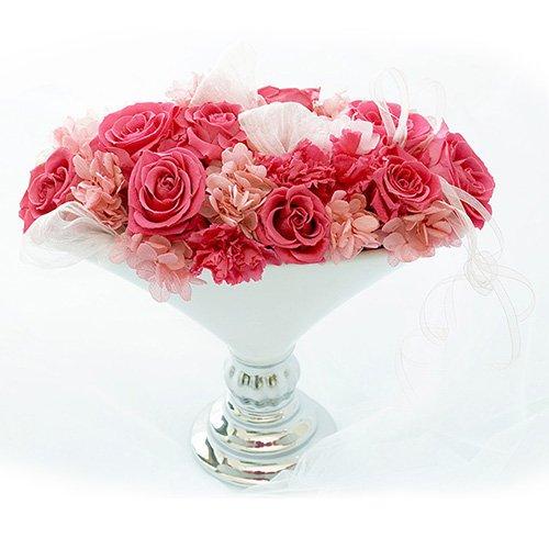 【ロザリーヌ】 プリザーブドフラワー アレンジメント フラワーアレンジ 結婚祝いや誕生日プレゼント、還暦祝いのギフトに (ピンク) B079R7RNNN ピンク ピンク