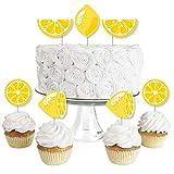 So Fresh - Lemon - Dessert Cupcake Toppers - Citrus Lemonade Party Clear Treat Picks - Set of 24