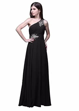 Edaier Womens Beaded Formal Evening Dresses Prom Gown Size 2 Black