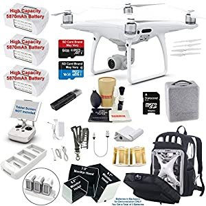 DJI Phantom 4 PRO Drone Quadcopter Bundle Kit with 3 Batteries, 4K Professional Camera Gimbal and MUST HAVE Accessories