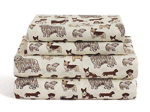 HowPlumb Dog Twin Size 3 Piece Sheet Set Microfiber Bedding, Puppy Pet Animal Lover Gift