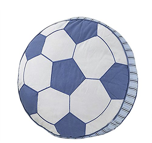 Funif 100% Cotton Soccer Pillow Round Stuffed Fluffy Throw Pillow Sports Ball Toy Gift For Kids Blue 15.8'' by Funif