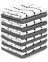 """Zeppoli Kitchen Towels, 12 Pack - 100% Soft Cotton -15"""" x 25"""" - Dobby Weave -Great for Cooking in Kitchen and Household Cleaning (12-Pack)"""