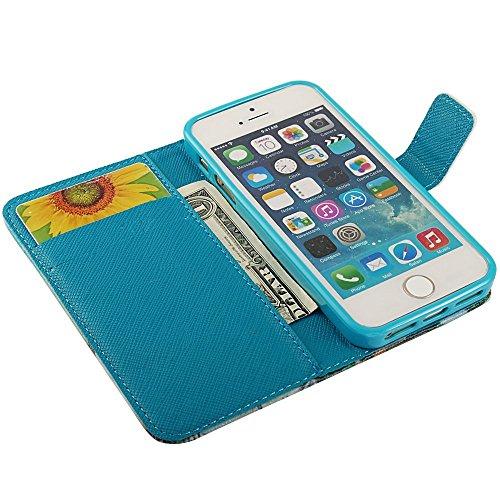 Luftballon Heißluftballon Flip Case Wallet Ledertasche Schutzhülle für iPhone 5 Hülle Tasche Leder Handytasche Handyhülle Etui Schale mit Standfunktion Kredit Kartenfächer