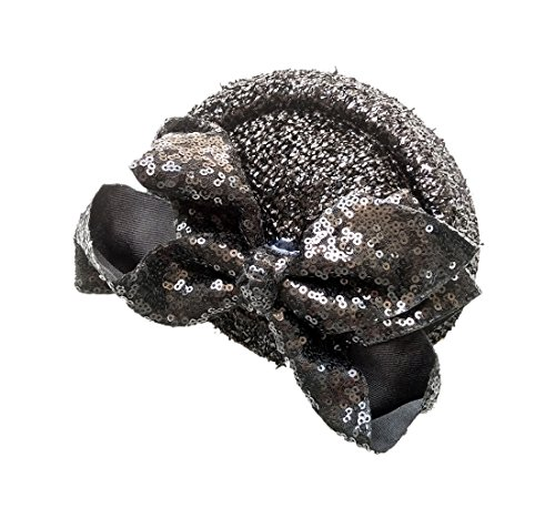 Top Black Glitter Hat (Ahugehome Fascinator Hair Clip Headband Pillbox Sequin Paillette Glitter Bling Mini Top Hat A Black)