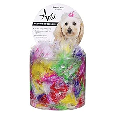 Aria Feather Dog Bows Canister, 100-Pack