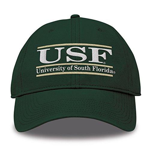 (The Game NCAA South Florida Bulls Bar Design Twill Hat, Dark Green, Adjustable)