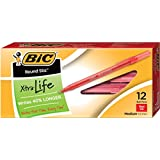 Bic Round Ball Pens Stick, Red, Medium Point Dozen Box 12