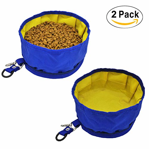 Pet Dog Collapsible Travel Bowls Oxford Fabric Waterproof Portable Foldable Food Water Bowl with Zipper (2 Pack) - Blue Collapsible Nylon Dog