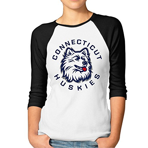 (ElishaJ Women's Raglan Tee Baseball Shirt University Of Connecticut Black Size XL)