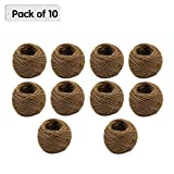 25M Natural Jute Twine Cord Hemp Rope Gift Packing Twine String 2mm Burlap Rope,10 Rolls