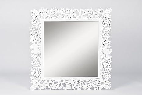 CVC- Specchio da parete, cornice bianca, dettaglio fiori rintagliati ...