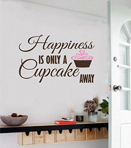 Enchantingly Elegant Happiness Is Only A Cupcake Away Vinyl Decal Wall Decor Stickers Letters Quote Home Decor Art 35x22 (Happiness Cake)