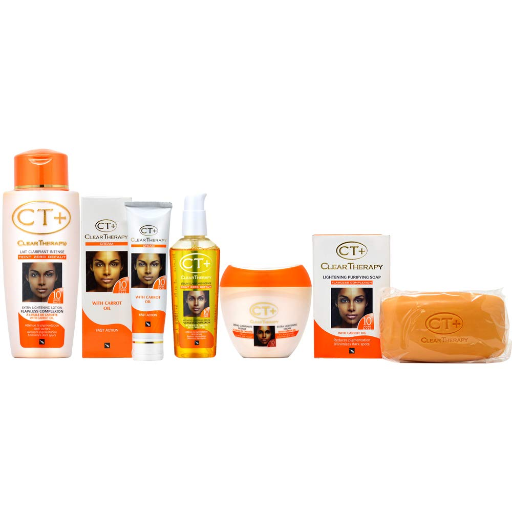 Clear Therapy + Lightening with''Carrot Oil'' Soap, Cream, Lotion, Serum and Tube Cream Set
