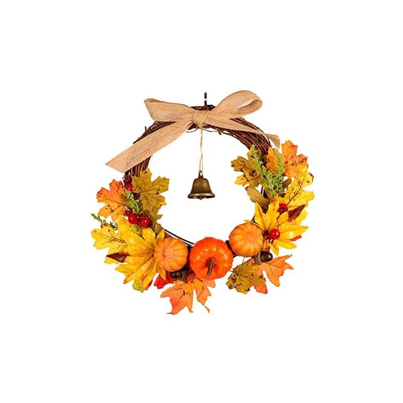 silk flower arrangements artificial rattan berry maple leaf fall door wreath door wall ornament halloween pumpkin garland thanksgiving wall hanging decoration