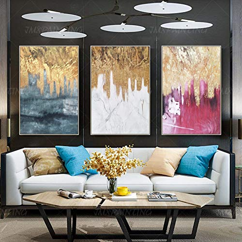 - 3 Pieces Originl Abstract Gold Leaf Waterfall Acrylic Painting On Canvas Gold Art Black and White Wall Art Cuadros abstractos Home Decor 4050cm3pcs No Frame