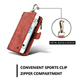 Detachable iPhone 7 Plus Wallet Case Multi function Zipper Premium Leather Folio Wallet Flip Case Cover with 5 Card Slot, Built-In Card Slots Stylish Magnetic Purse Metal Clip Rose Cherry Red