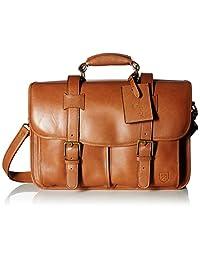 Allen Edmonds Men's Double Flap Briefcase, Tan Saddle