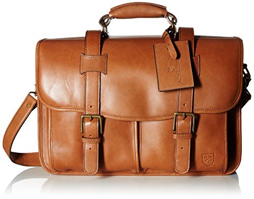Allen Edmonds Men's Double Flap Briefcase, Tan Saddle