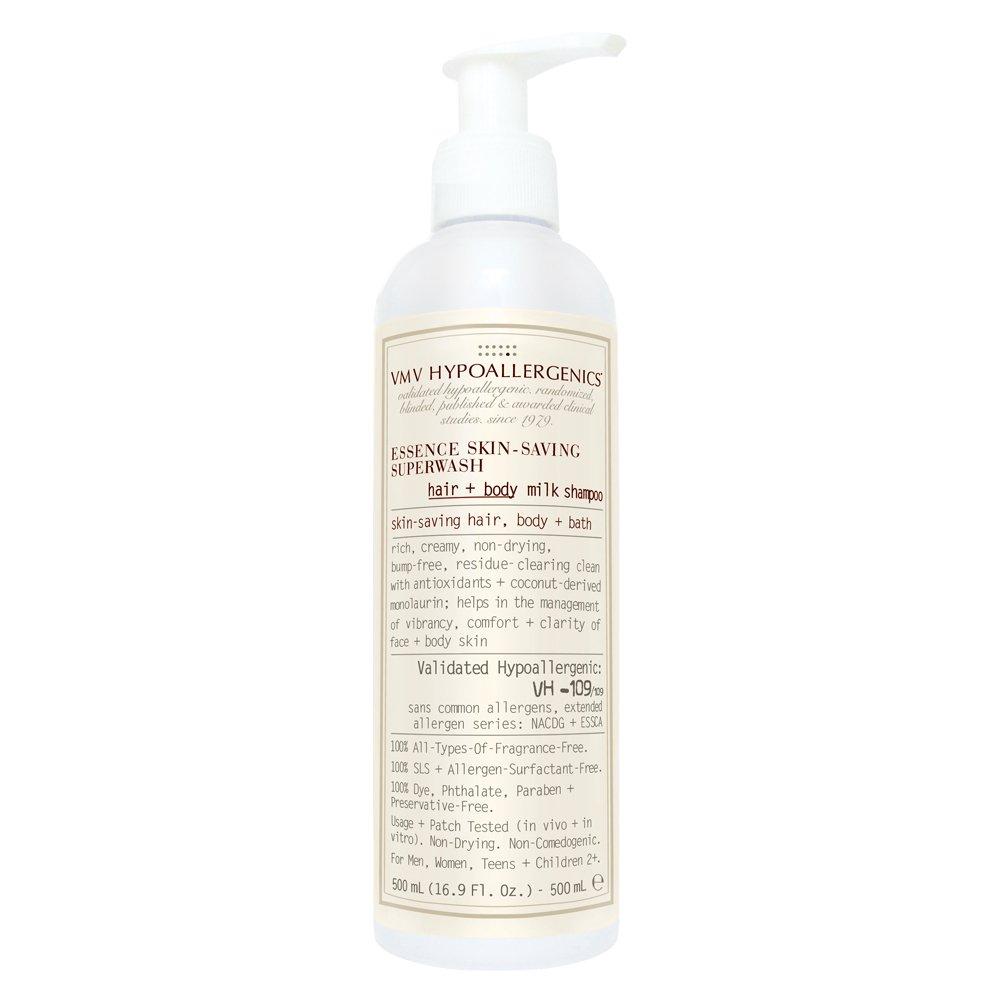 VMV Hypoallergenics Essence Skin-Saving Super Wash Hair and Body Milk Shampoo, 16.9 Ounce
