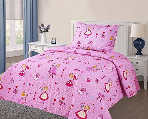 Golden Linens Twin Size 2 Pieces Quilt Bedspread Set Kids New Designs for Boys & Girls (Pink -03) (Linen Quilts)