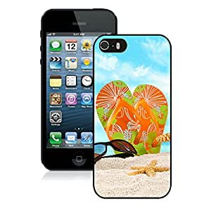 Beautiful Designed Case With flip flop beach Black For iPhone 5S Phone Case