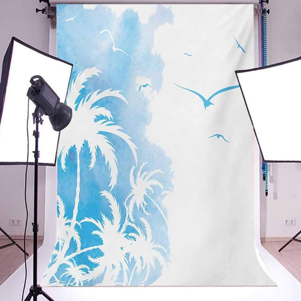 Island Palm Trees Abstract Design with Birds Watercolor Background Artwork Background for Child Baby Shower Photo Vinyl Studio Prop Photobooth Photoshoot Exotic 6.5x10 FT Photography Backdrop