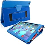 Snugg iPad Air Case - Smart Cover with Flip Stand & Lifetime Guarantee (Electric Blue Leather)