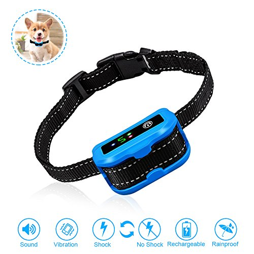 grade Version] Humane Anti Bark Training Collar, NO SHOCK, Harmless and Humane.Rechargeable Anti Bark Control Device for Small Medium Large Dogs - Safe Pet Waterproof Device (Rechargeable Bark Control Collar)