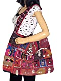 Kutch Embroidery Ladies Stylish Large Red Fashion Shoulder Messenger Bag – 21in.
