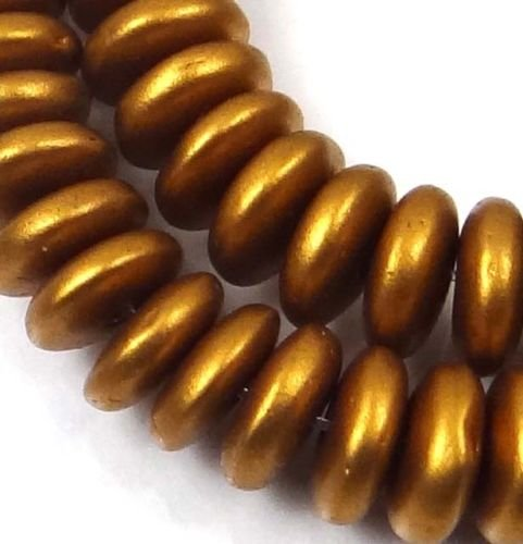 - 50 Czech Glass Rondelle Beads - Matte Metallic Antique Gold 6x2mm
