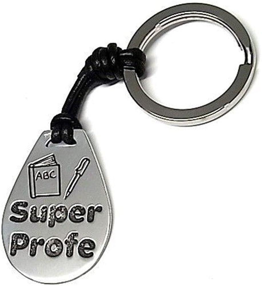Llavero chapa plata ley 925m oxidado 35mm. SUPER PROFE cuero [AA9311]