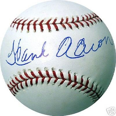 (Hank Aaron Autographed Signature MLB Baseball Steiner Holo/COA)